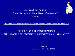 Il ruolo dell`Infermiere nel Management dell`assistenza al malato