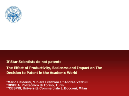 Professor Mario Calderini - If Star Scientists do not Patent