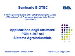 Applicazione degli strumenti PON e 297 nel Sistema Agroindustriale