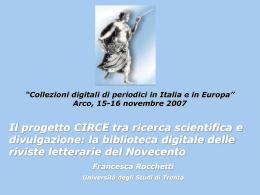 Francesca Rocchetti - CIRCE - Università degli Studi di Trento