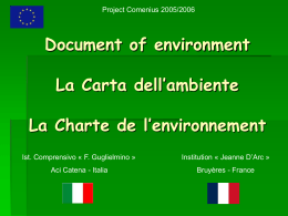 Papier of environment La Carta dell`ambiente La Charte de l