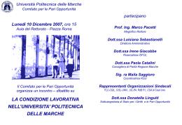 Locandina - Presentazione - Università Politecnica delle Marche