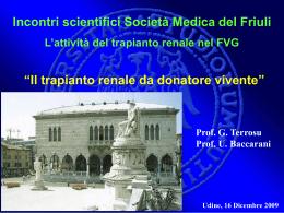 Trapianto da donatore vivente - Corso di Laurea in Infermieristica