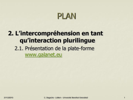 2. L`intercompréhension en tant qu`interaction - St-Louis