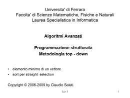 Es. 2: Sort di un vettore, strategia straight-selection