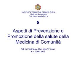 6.Aspetti preventivi della Medicina di Comunità