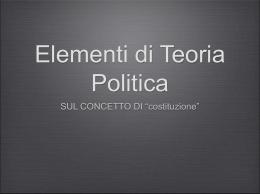 Costituzione (Elementi di Teoria Politica, ETP02)