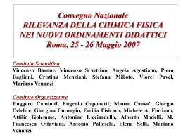 Vincenzo SCHETTINO : L`insegnamento della Chimica Fisica nell