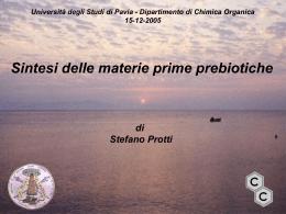 Sintesi delle materie prime prebiotiche