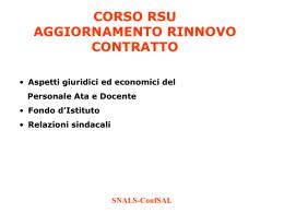 Corso - SNALS - Sindacato Nazionale Autonomo Lavoratori Scuola