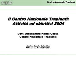 Relazione sull`attività del CNT - Trapianti