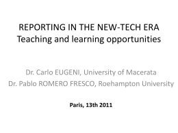 Reporting in the new-tech era – Teaching and learning