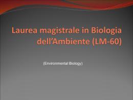 Diapositiva 1 - Classe delle lauree magistrali in Biologia