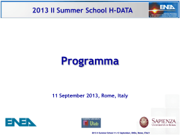 2013 II Summer School H-DATA