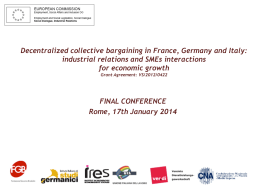 FINAL CONFERENCE Rome, 17th January 2014 Case study n.1