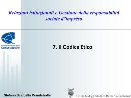 Il Codice Etico - Dipartimento di Comunicazione e Ricerca Sociale