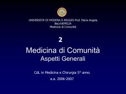 Aspetti Generali - Facoltà di Medicina e Chirurgia