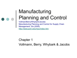 Manufacturing Planning and Control