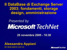 Il DataBase di Exchange Server 2003 - Center