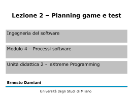 Planning game e test - Università degli Studi di Milano