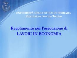 Presentazione_Reglavecon - Università degli Studi di Ferrara