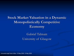Stock Market Valuation in a Dynamic Monopolistically Competitive