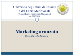 Marketing Avanzato - Università degli Studi di Cassino