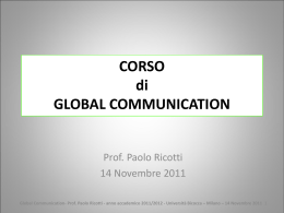 Global Communication- Prof. Paolo Ricotti