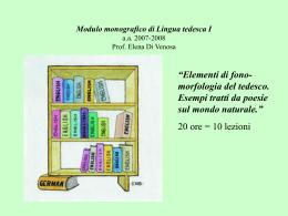 Modulo monografico di Lingua tedesca I a.a. 2006