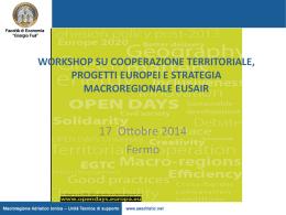 workshop su cooperazione territoriale, progetti europei e strategia