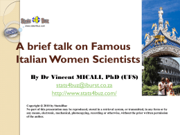 A brief talk on Famous Italian Women Scientists