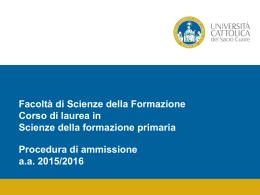 Presentazione di PowerPoint - Università Cattolica del Sacro Cuore