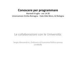 Le collaborazioni con le università - Unioncamere Emilia