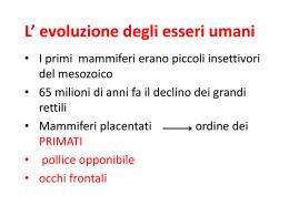 L* evoluzione degli esseri umani