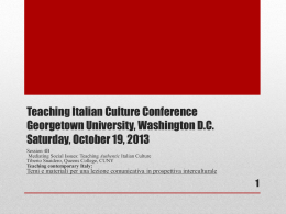 Teaching Italian Culture Conference Georgetown
