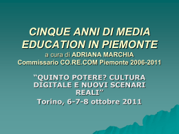 CINQUE ANNI DI MEDIA EDUCATION IN PIEMONTE 3