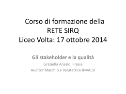 Corso di formazione della Rete SIRQ Liceo Volta: 17 ottobre 2014