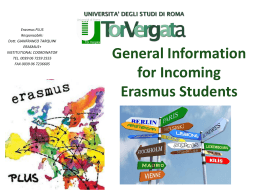 General Information for Incoming ERASMUS+ 2015