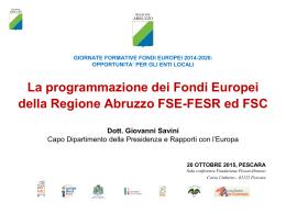 La programmazione dei Fondi Europei della Regione