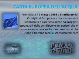 La carta europea dell`acqua