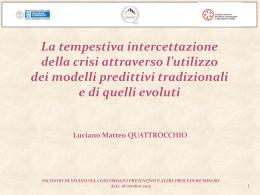 QUATTROCCHIO L .M. Modelli predittivi della crisi – Slide