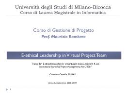 Università degli Studi di Milano-Bicocca Corso di