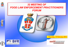 Nessun titolo diapositiva - Food Law Enforcement Practitioners
