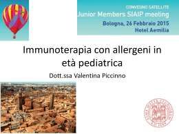 Dati clinici sull*immunoterapia in età pediatrica