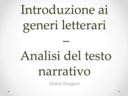 I generi letterari e elementi di narratologia