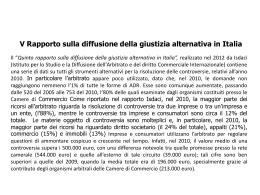 V Rapporto sulla diffusione della giustizia alternativa in Italia