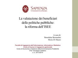 L`Evoluzione Normativa dell`ISEE - Dipartimento di Informatica e
