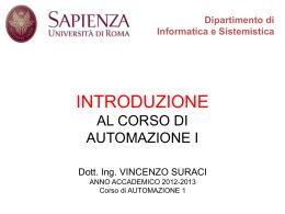 Lezione 01 - Dipartimento di Informatica e Sistemistica