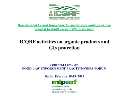 ICQRF activities & the protection of organic products