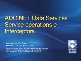 ADO.NET Data Services Service operations e Interceptors